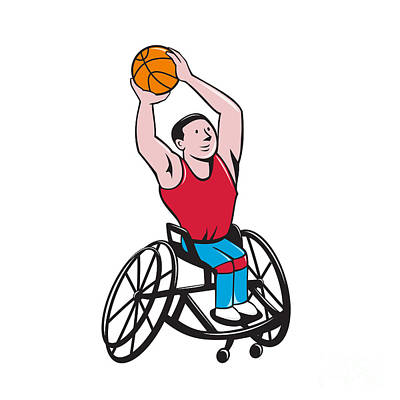 Wheelchair Basketball Player Shooting Ball Cartoon Poster
