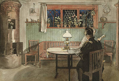 When The Children Have Gone To Bed. From A Home Poster by Carl Larsson