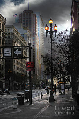 When The Lights Go Down In San Francisco 5d20609 Poster by Wingsdomain Art and Photography