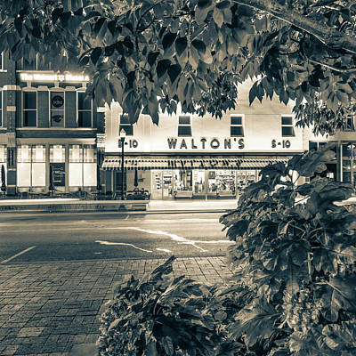 Where It All Began - Sam Walton's First Store - Sepia - Bentonville Arkansas Poster by Gregory Ballos