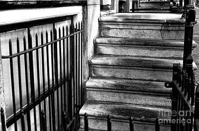 Where The Stairs Lead In Amsterdam Mono Poster by John Rizzuto