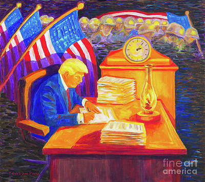 While America Sleeps - President Donald Trump Working At His Desk By Bertram Poole Poster