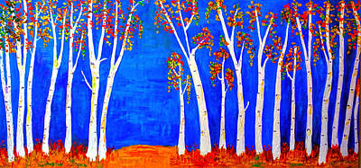 Whimsical Birch Trees Poster