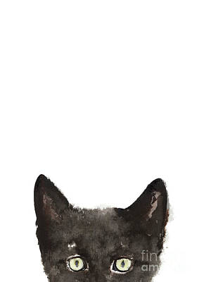 Whimsical Cat Poster, Funny Animal Black Cat Drawing, Peeking Cat Art Print, Animals Painting Poster