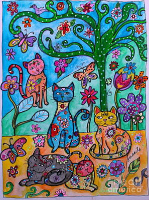Whimsical Cats Poster by Pristine Cartera Turkus