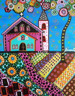 Whimsical Church Poster by Pristine Cartera Turkus