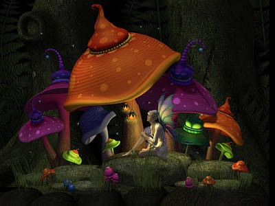 Whimsical Mushrooms Poster
