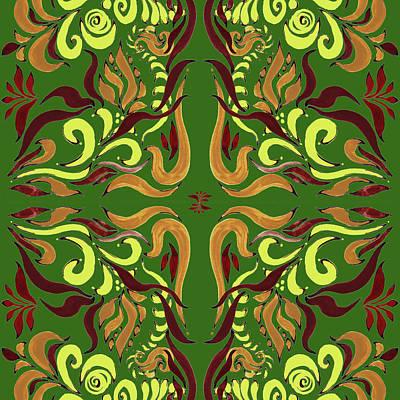 Whimsical Organic Pattern In Yellow And Green I Poster by Irina Sztukowski