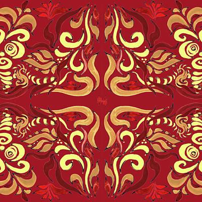 Whimsical Organic Pattern In Yellow And Red I Poster by Irina Sztukowski