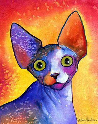 Whimsical Sphynx Cat Painting Poster by Svetlana Novikova