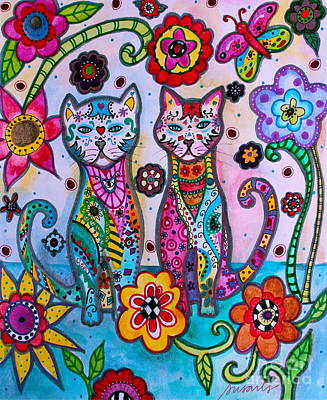 Whimsical Talavera Cats Poster by Pristine Cartera Turkus