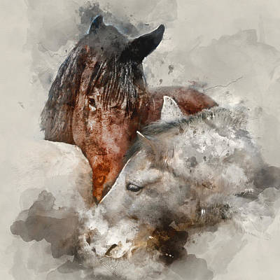 Whisper - Horse Colorful Portraits 1 - By Diana Van Poster