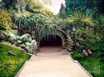 Poster featuring the painting Whispering Tunnel by Elizabeth Robinette Tyndall