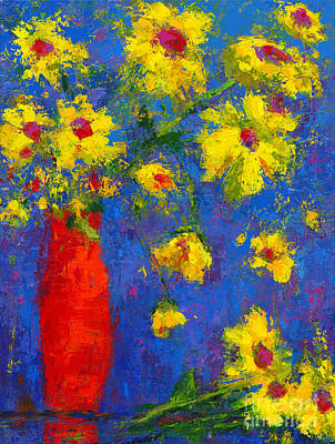 Abstract Floral Art, Modern Impressionist Painting - Palette Knife Work Poster by Patricia Awapara