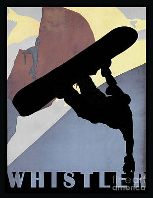 Whistler Blackcomb Winter Sport Snowboarding Dude Poster by Tina Lavoie