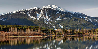 Poster featuring the photograph Whistler Mountain Reflection Panorama by Pierre Leclerc Photography