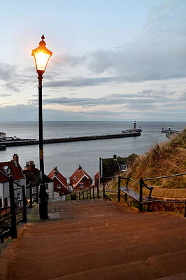Whitby Steps Blue Hour Poster by Sarah Couzens