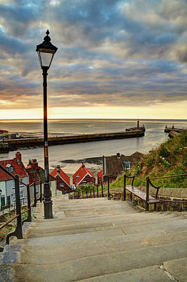 Whitby Sun Set Poster by Sarah Couzens