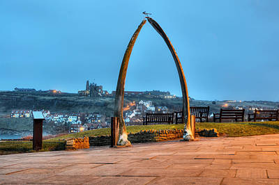 Whitby Whalebone Blue Hour Poster by Sarah Couzens
