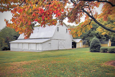 White Barn In Autumn Poster