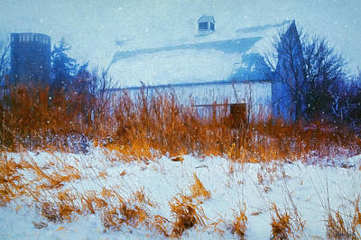 White Barn In Snowstorm Poster