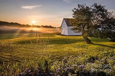 White Barn Sunrise Poster by Benjamin Williamson