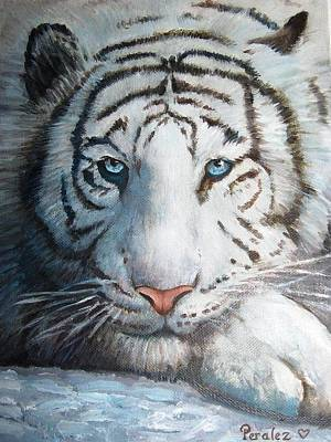Poster featuring the painting White Bengal Tiger by Noe Peralez