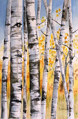 White Birch Meadow Poster