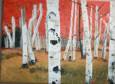 Poster featuring the painting White Birches by Betty-Anne McDonald