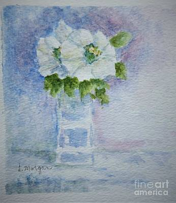 White Blooms In Blue Vase Poster