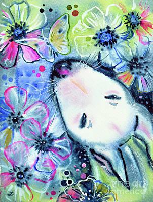 White Bull Terrier And Butterfly Poster by Zaira Dzhaubaeva
