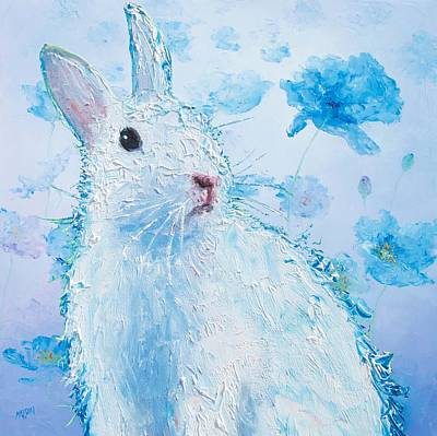 White Bunny On Blue Floral Background Poster by Jan Matson