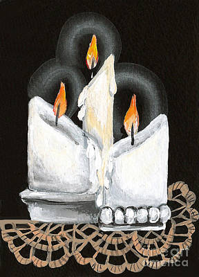 White Candle Trio Poster by Elaine Hodges