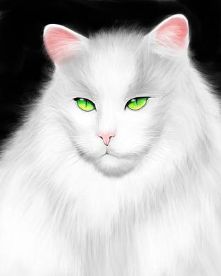 White Cat Poster by Salman Ravish