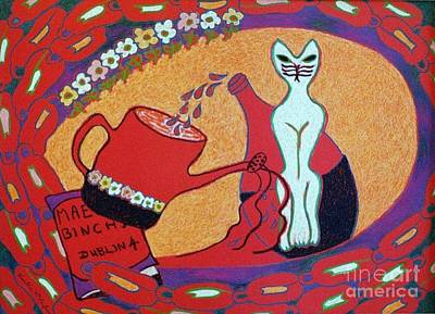 White Cat With Watering Can Poster by Heather McFarlane-Watson