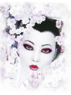 White Cherry Blossom Geisha Poster by Shanina Conway