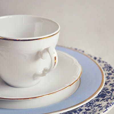 White China Cup, Saucer And Plates Poster by Lyn Randle
