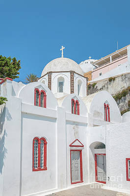 Poster featuring the photograph White Church At Fira by Antony McAulay
