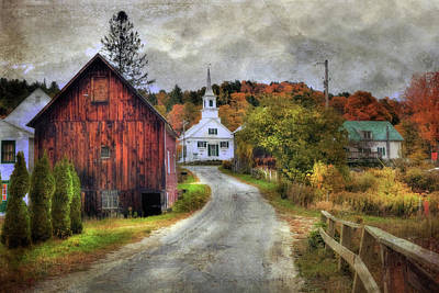 White Church In Autumn - Vermont Country Scene Poster