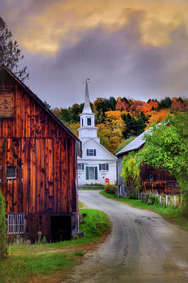 White Church In Autumn - Waits River Vermont Poster