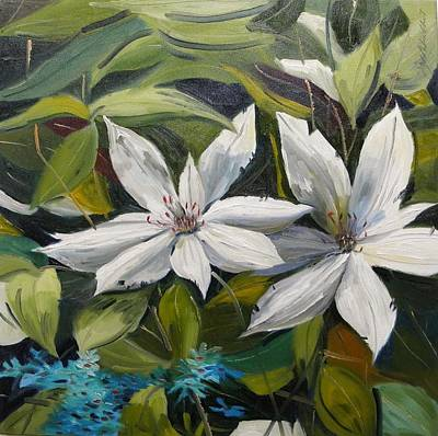 Poster featuring the painting White Clematis by John Williams