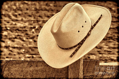 White Cowboy Hat On Fence Poster