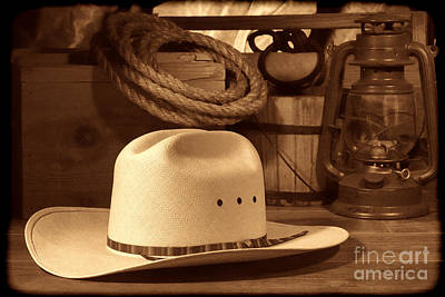 White Cowboy Hat On Workbench Poster