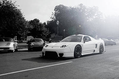 Poster featuring the photograph White Custom Nsx  by Joel Witmeyer