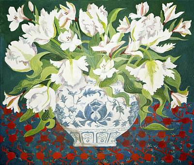 White Double Tulips And Alstroemerias Poster