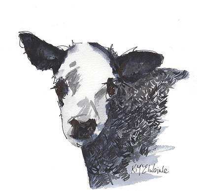 White Faced Hereferd Calf Baby Cow Poster by Kathleen McElwaine