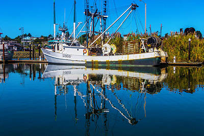 White Fishing Boat Reflection Poster