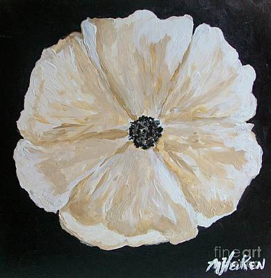 White Flower On Black Poster
