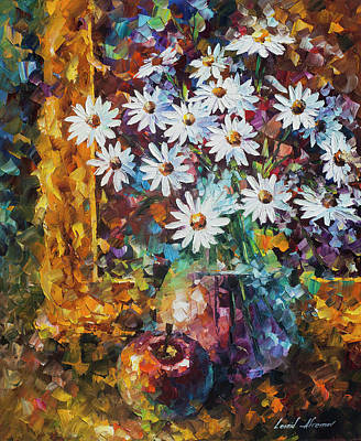 White Flowers Poster by Leonid Afremov