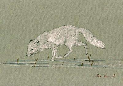 White Fox Walking Poster by Juan  Bosco